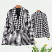 Vintage women black white plaid suit jackets  ladies double breasted elegant coats female feminine outwear chic girl 2019 fashio