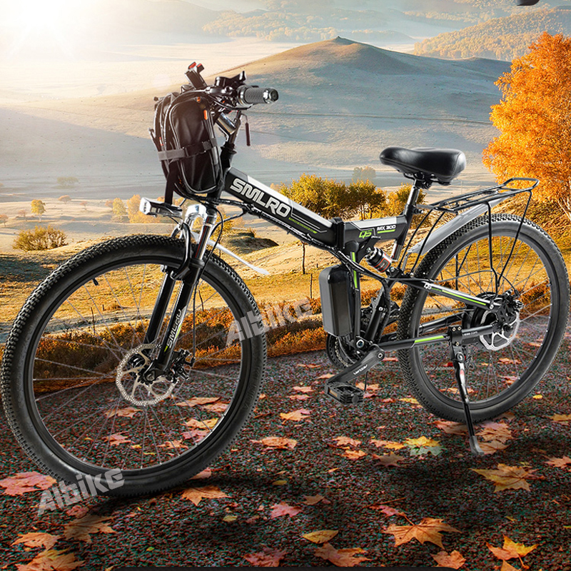 """Foldable Electric Bike E Bicycle 26"""" ebike 1000W 48V 13AH Electric Mountain Bicycle with 21 Speeds Mens Mountain Bike"""