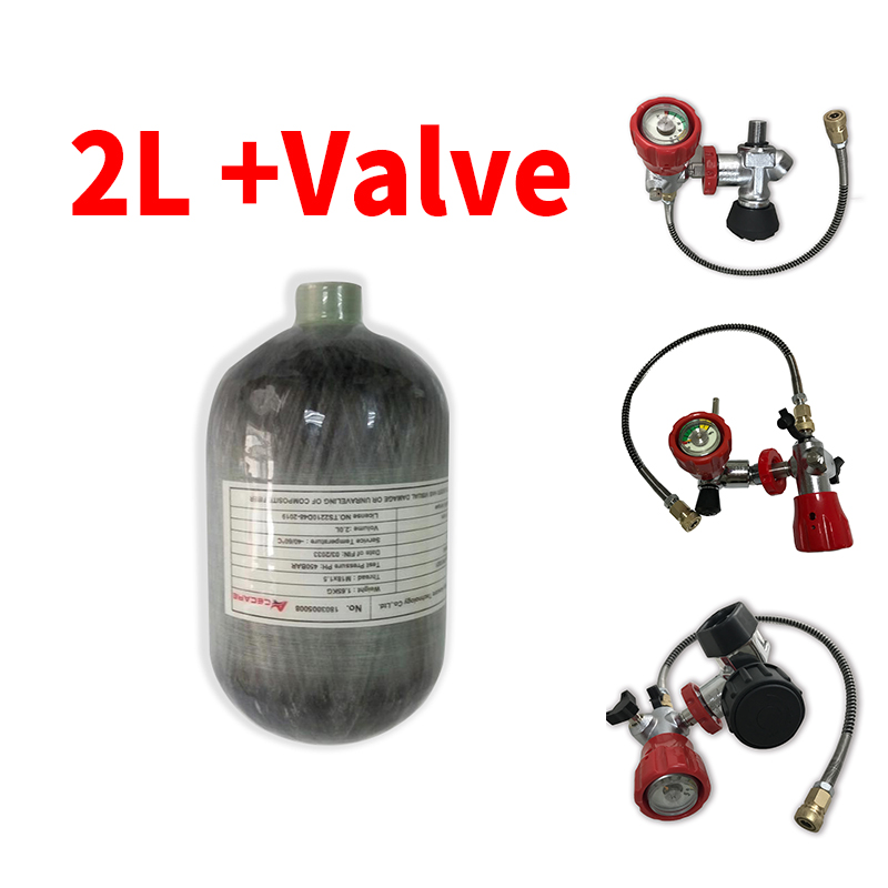 Pcp Air Rifle Tank Mini 2L Diving Scba Tank 300Bar Carbon Fiber High Pressure Cylinder & Pcp Valves Compressed Air Guns To Hunt