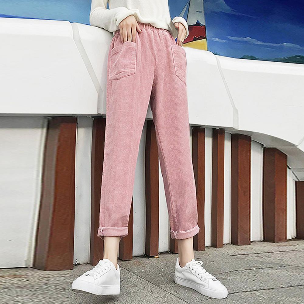 Retro High Waist Corduroy Harem Pants Women Loose Straight Big Pocket Trouser Harem Pants Casual Ladies Pants #20