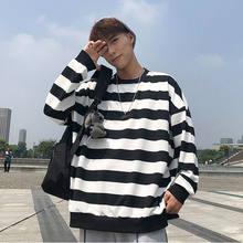 Pulôver de manga comprida às riscas soltas de manga comprida casal camisola de malha hip-hop estilo feminino 2021 nova camisola feminina