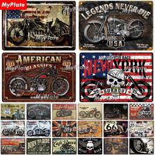 Motorcycl sinal de metal do vintage placa estanho decoração da parede para garagem clube placa artesanato arte rota 66 poster presente personalizado por atacado