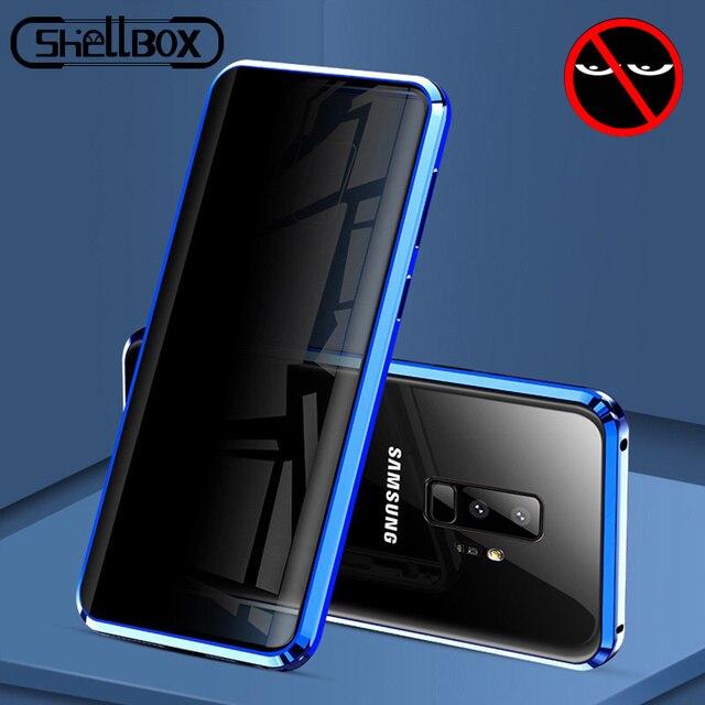 Privacy Metalen Magnetische Gehard Glas Telefoon Case Voor Samsung Galaxy S20 S9 S10 Plus Note 8 9 10 Magneet Anti spy Beschermende Cover