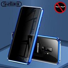 Étui de téléphone en verre trempé magnétique en métal pour Samsung Galaxy S20 S9 S10 Plus Note 8 9 10 aimant Anti espion housse de protection
