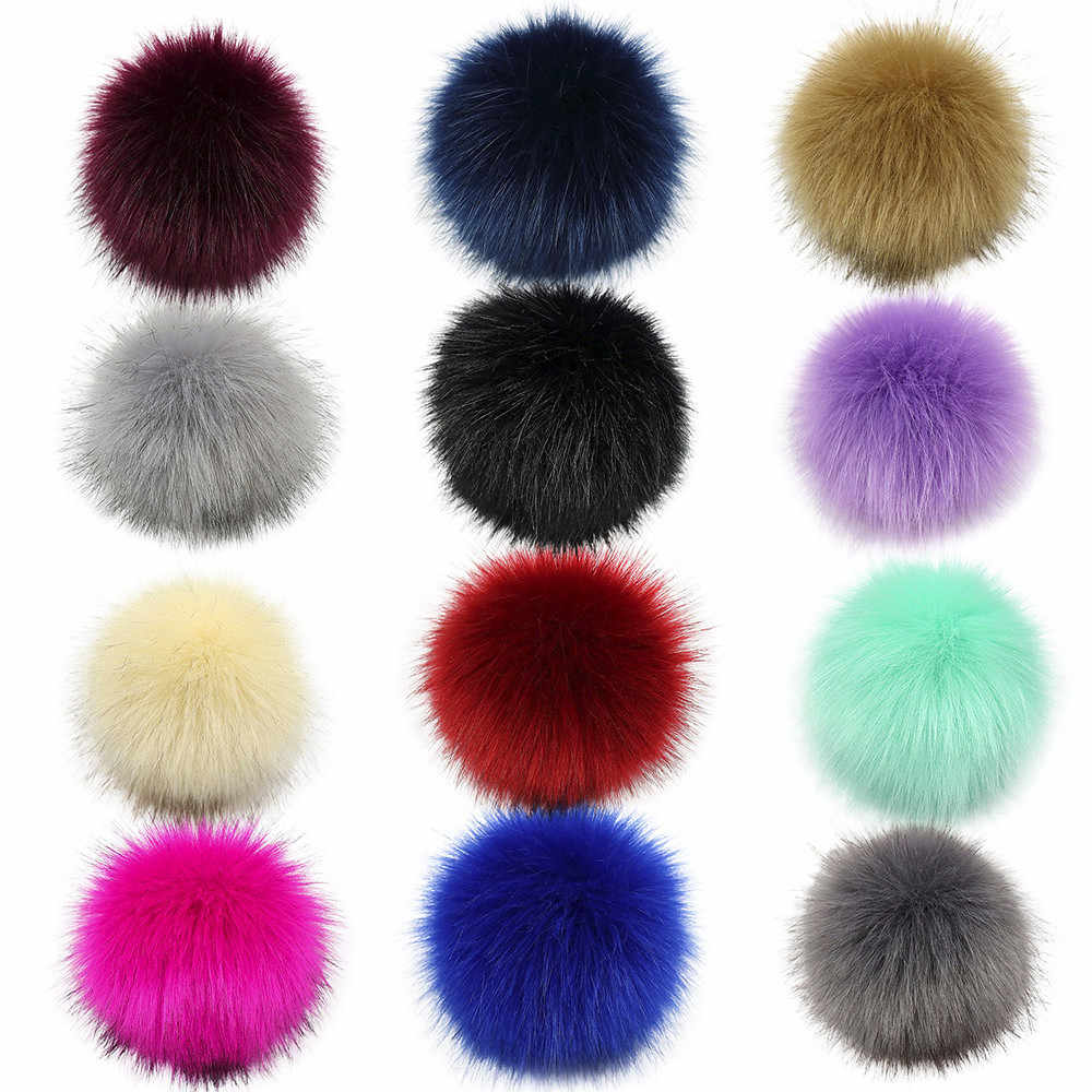 DIY Knitting Hats Accessires-Faux Fake Fur Pom Pom Ball with Press Button accessories Decoration For Clothing Matching Accessory