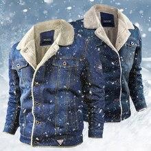 Winter Fashion Men's Wool Liner Jean Jacket 2020 Men Thick Fleece Warm Denim Jackets Male Lapel Military Cowboy Coats Outwear
