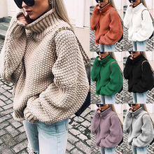 Sweaters Plus Size Winter Computer Knitted Sweater Women Pullover Turtleneck 2019 Pink Fashion