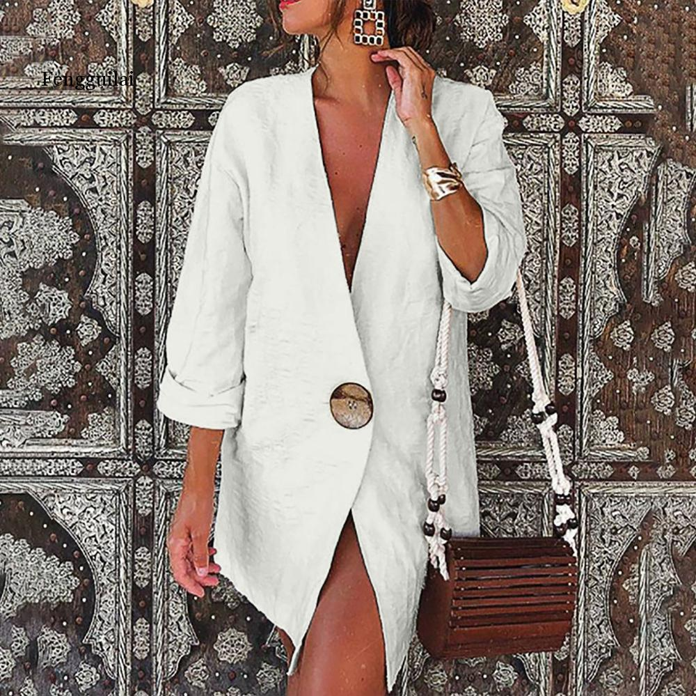 Women Solid Buttons Long Sleeve Cotton And Linen Cardigan Loose Suit female simple blazer mujer abrigo mujer  white yellow