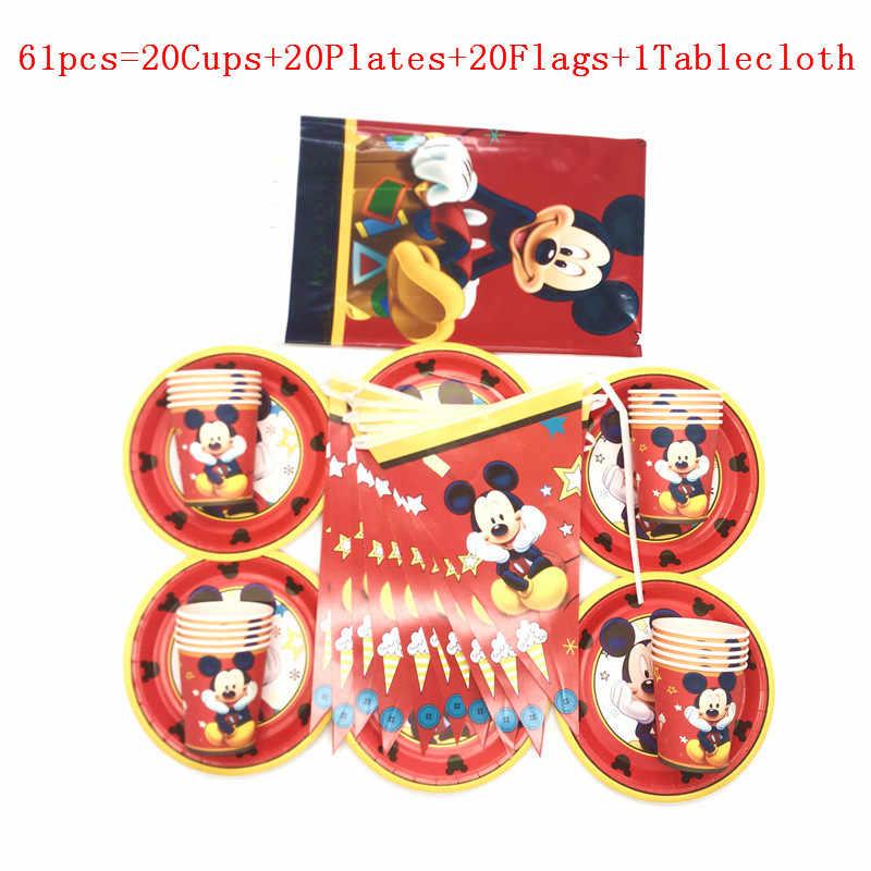 Dự Tiệc Cung Cấp 61 Chiếc/31 Chiếc Disney Chuột Mickey Đỏ Trẻ Em Bộ Đồ Ăn Bé Trai Bé Gái Sinh Nhật Đĩa Cúp Cờ Tablecover đồ Trang Trí Cung Cấp
