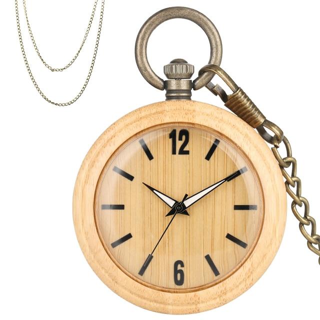 Minimalist Retro Bamboo Wood Quartz Pocket Watch Arabic Numerals Round Dial Stylish Full Wooden Exquisite Pendant Necklace Clock