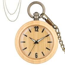 Minimalistischen Retro Bambus Holz Quarz Taschenuhr Arabischen Ziffern Runden Zifferblatt Stilvolle Full Holz Exquisite Anhänger Halskette Uhr