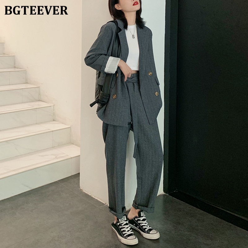 BGTEEVER 2 Pieces Sets Fashion Casual Double-breasted Female Suit Jackets &High Waist Sashes Suit Pants 2020 Women Blazer Sets