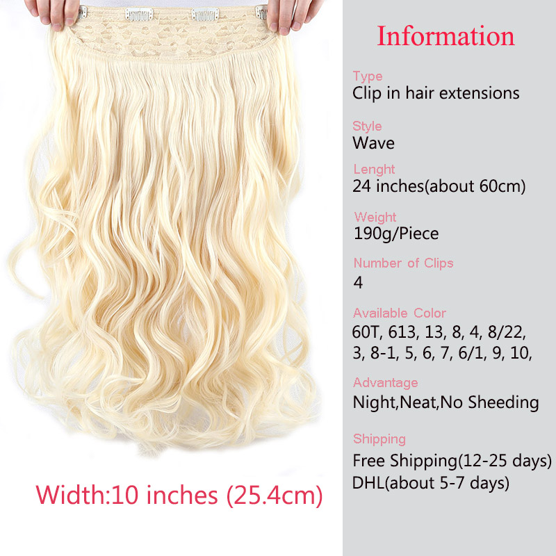 Big SaleSAMBRAID Hair Extensions Synthetic Hair 4 Clips In One Piece 24 inch Natural Long Hair 190g For Women_