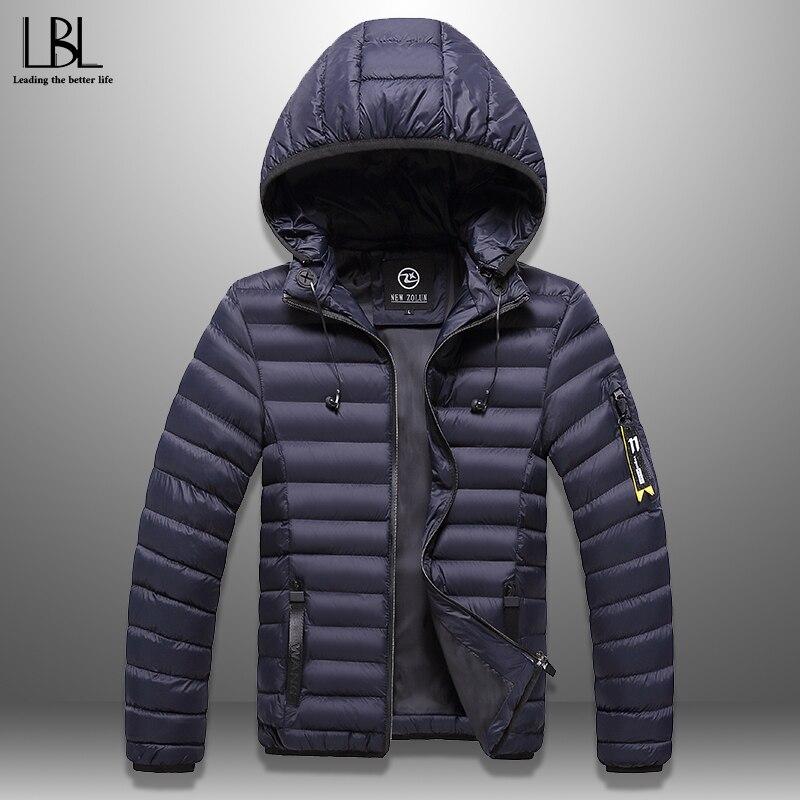 Men's Winter Jacket With Headphones Casual Thick Hooded Coat Warm Men Winter Coat Windproof Hat Detachable Padded Overcoat Homme