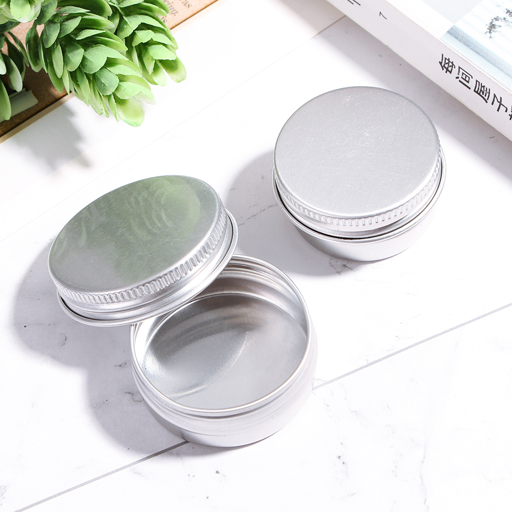 Portable Silver Round Aluminum Tin Cans Cosmetic Cream Sample Jar Screw Thread Lid Cream Hair Wax Case Container 5 Size