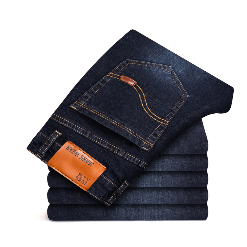 2020 New Men Stretch Jeans Male Classic Elasticity Business Jeans Men Fashion Comfortable Solid Slim Straight Long Denim Pants