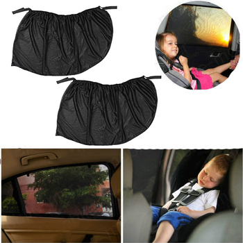 2PCS Car SunShade UV Protection Cover Shield Black Polyester Front Windshield Auto Sun Visor Driver Windshield Sunshade image