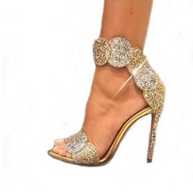 Luxury Gold Bling Crystal Embellished High Heel Pumps Summer Sexy Open Toe Woman Back Zipper Ankle Strap Gladiator Sandals summer open toe sandals metal snake decor woman black sexy pumps metallic gold design thin heel suede female gladiator sandals