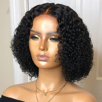 150% Short Curly Bob 13x4 Lace Front Human Hair Wigs Remy Brazilian For Women Pre Pluck Natural Color Bleached Knots Slove Rosa