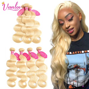 Vanlov 1/3/4 613 Blonde Bundles Brazilian Hair Extensions Body Wave Bundles 100% Remy Human Hair Bundles Blonde Hair Wave