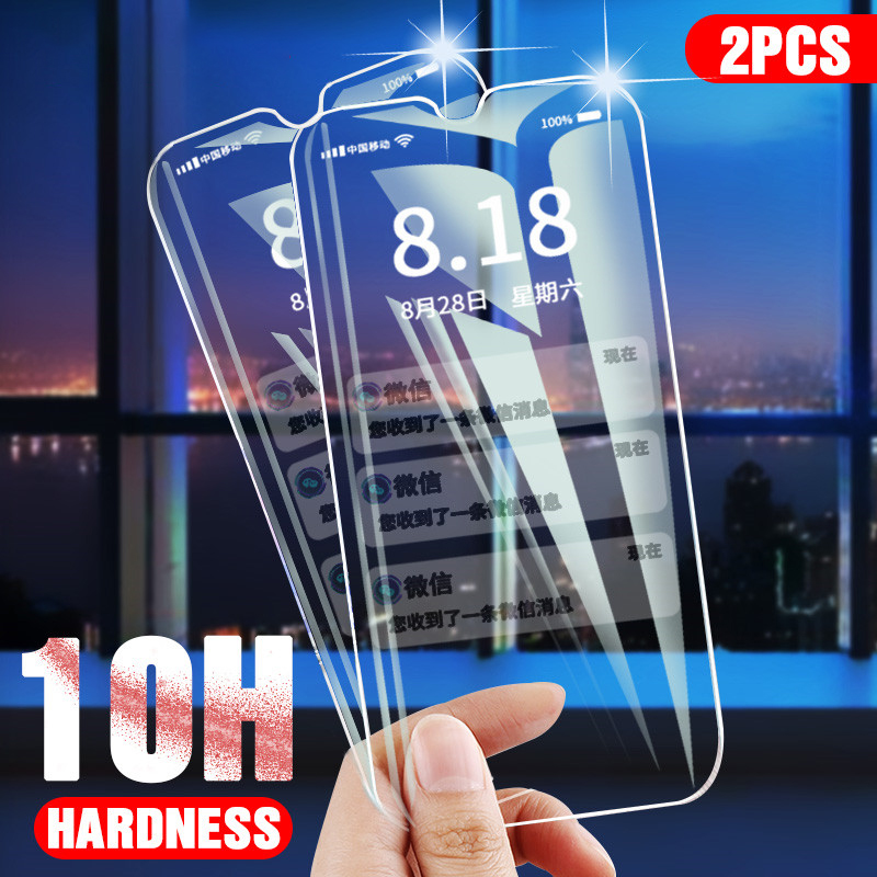 10H 2pcs Tempered Glass For Oppo A9 A5 2020 F11 Pro Screen Protector Protective Glass For Oppo Realme X C1 C2 3 Reno 2 Reno2