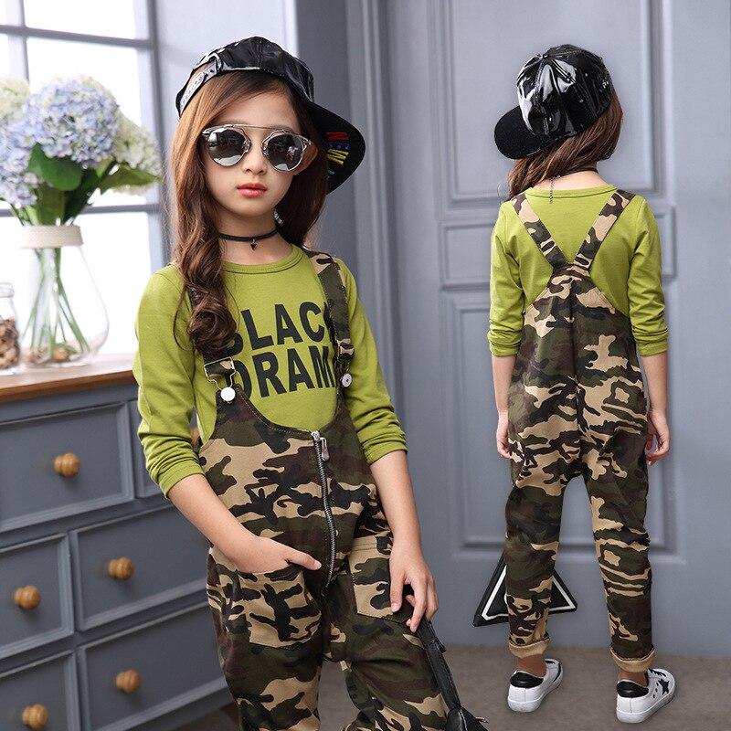 Conjunto crianças Terno Menina Macacão Macacão Calças de Camuflagem Macacão para a Menina Tshirt Verão + Macacão Calças das Crianças Alças de Ombro