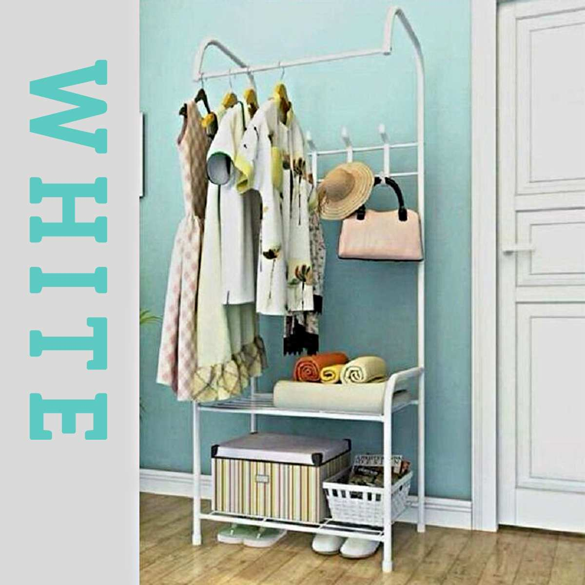Colorful Simple Style Landing Clothing Holder Hanger Coat Rack Floor Standing Storage Shelf Clothe Hanger Rack Bedroom Furniture
