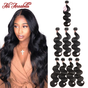 ALI ANNABELLE HAIR 3/4 Indian Hair Body Wave Human Hair Bundles 3 Bundle deals 100% Remy Hair Extensions 10-28inch Natural Color