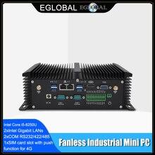 산업용 팬리스 미니 pc i7 8550u i5 8250u 쿼드 코어 2 * ddr4 2 * com windows 10 pro linux 견고한 컴퓨터 데스크탑 vga hdmi wifi