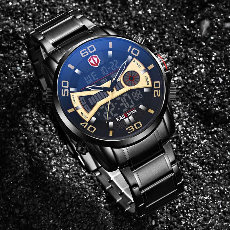 K6171 高級男性腕時計 2019 ハイテク Led スポーツマン腕時計フル鋼 3ATM デジタル腕時計オリジナルブランド KADEMAN カジュアルビジネス