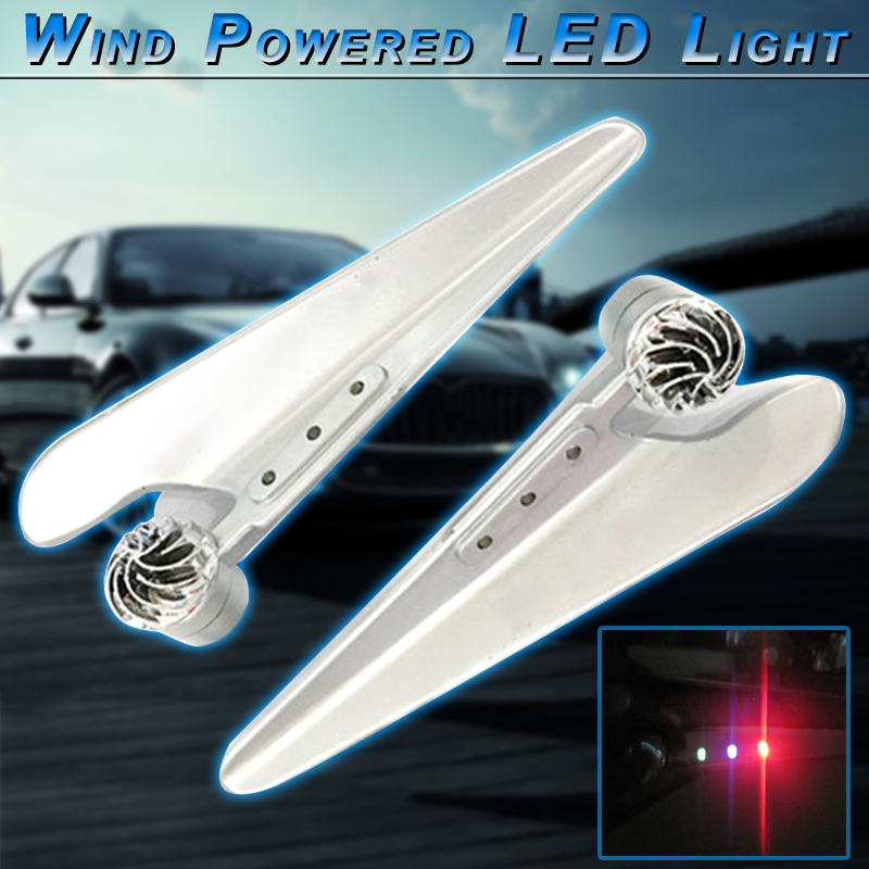 2 pcs Wind Powered Car Front Windscreen Wiper 3-Color LED Light Lamps Daytime Driving Light Universal Wind Energy Car Light