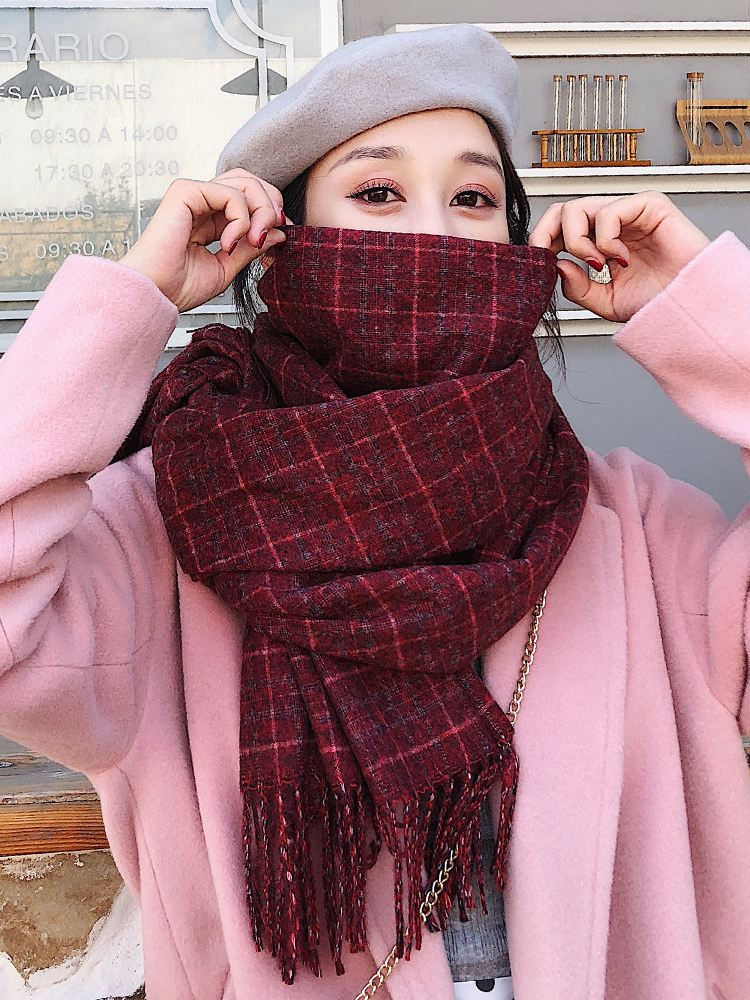 Brand Scarf Autumn Winter Female Korean Department All Kinds Of Thickened Warm Bib Female Original And Lodging Long Plaid Shawl