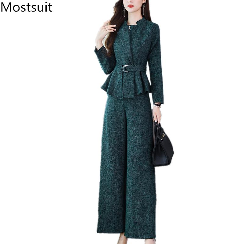 2019 Autumn Office Elegant Two Piece Sets Outfits Women Plus Size Short Coat And Wide Leg Pants Suits Korean Ladies Women's Sets 51