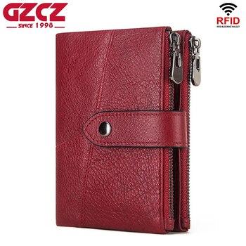 Cartera de cuero genuino GZCZ Rfid para hombre, carteras de Caballo Loco, monedero corto para hombre, bolsa de dinero, diseño, Mini Walet rojo de calidad