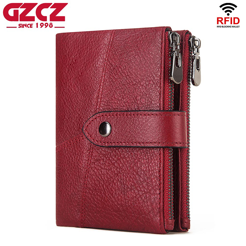 GZCZ Rfid Genuine Leather Wallet Men Crazy Horse Wallets Coin Purse Short Male Money Bag Designer Mini Red Walet Quality