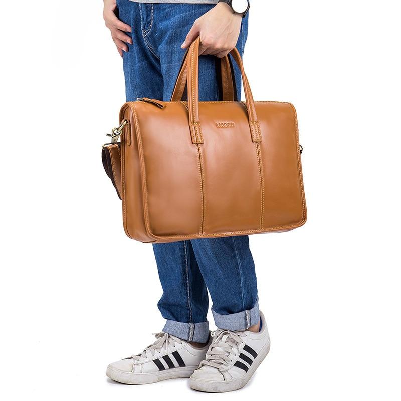 Men Bags Business Leather Man Handbags Case Real Cow Genuine Leather Bag Men Brown Computer Laptop Messenger Briefcase 0017