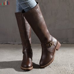 2019 Knees Square Heel Boots Women PU Leather Suede Matte Boots Slip on Zapatos De Mujer Solid Riding Knight Boots Winter Shoes 4