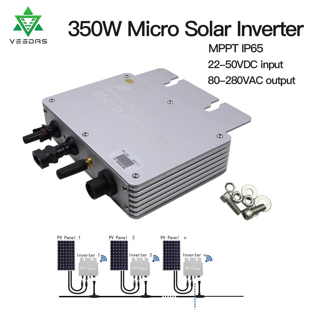 350W Micro Inversor Solar Grid Tie Inverter Ip65 Pure Sine Wave Inverter Regulator Input 22-50V Output 80-160V Or 180-260V