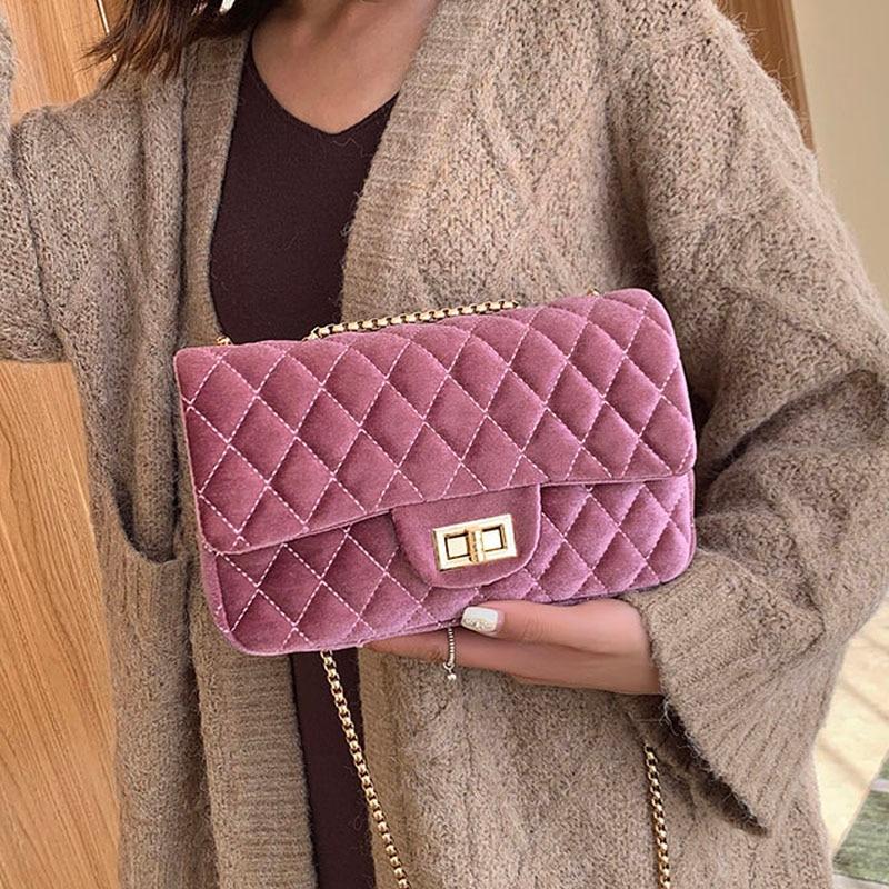Brand Bags For Women's 2020 New High Quality Velvet Female Handbags Designer Chain Small Crossbody Bags Casual Lady Shoulder Bag