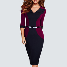 Casual Wear To Work Office Business Patchwork Bodycon Dress Elegant Belted Colorblock Contrast Pencil Dress HB354