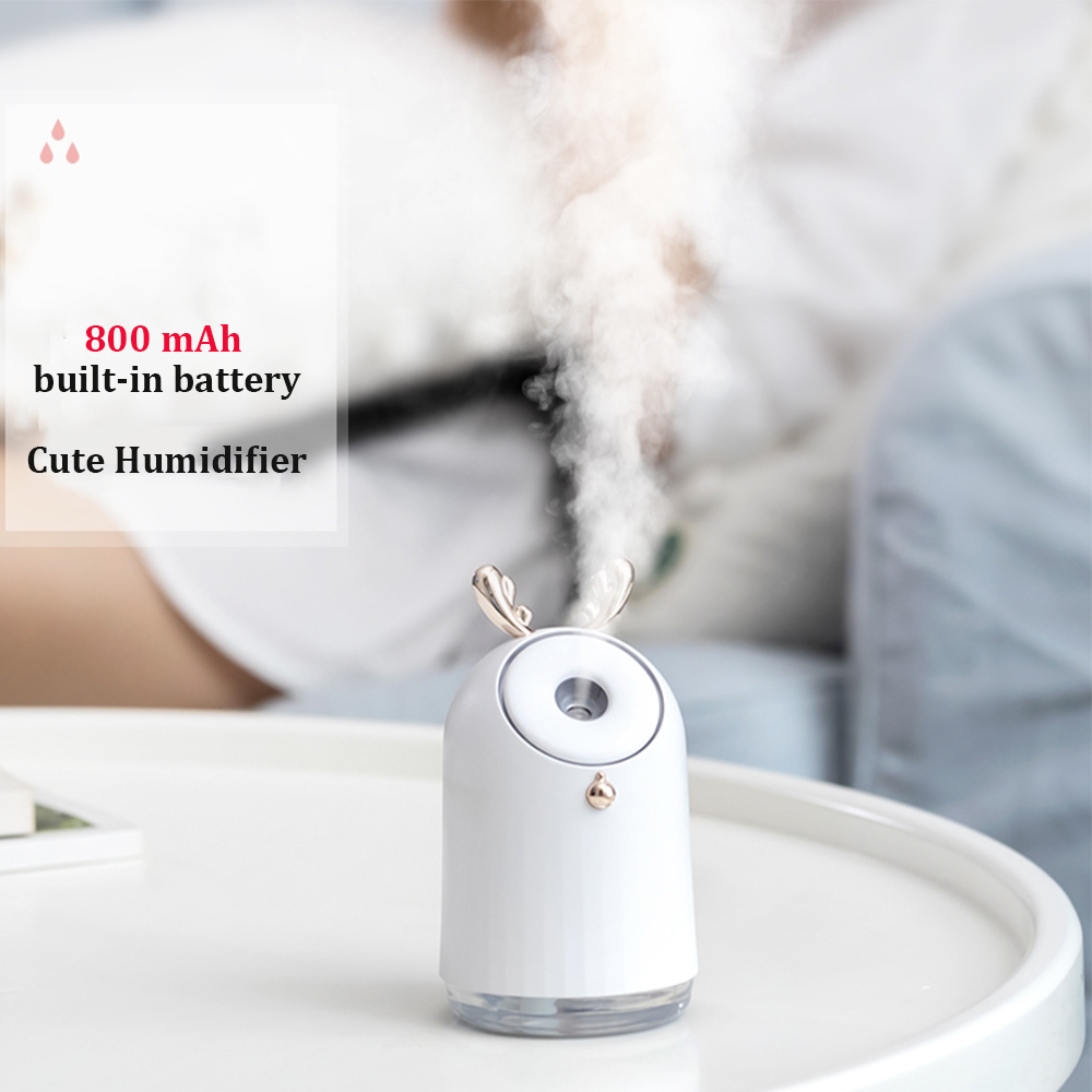 Wireless Cute Air Humidifier USB Ultrasonic Aroma Essential Oil Diffuser 800mAh Built in battery Rechargeable Fogger Mist Maker in Humidifiers from Home Appliances