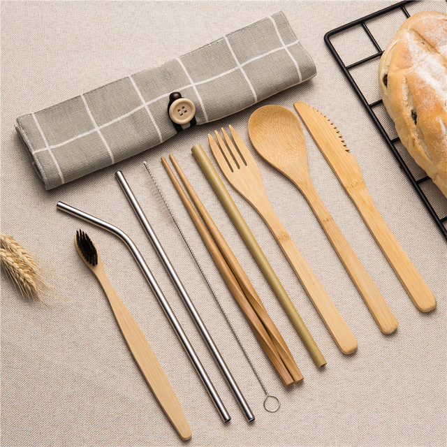 Tableware Set Bamboo Cutlery Set Wood Straw with Travel Cloth Bag Wooden Spoon Fork Knife Dinnerware Set Wholesale
