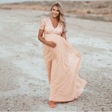 Solid-Dress Sequined Pregnancy-Clothes Maternity-Photography-Props Summer Short Boho