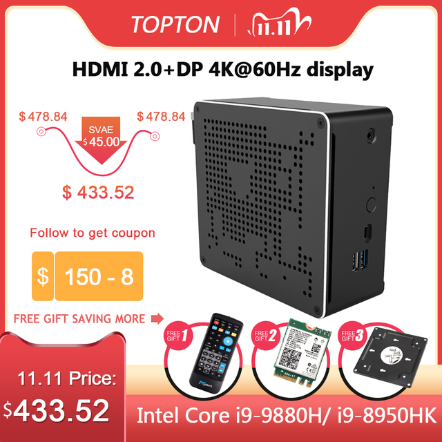 Topton 10th Gen Nuc i7 10750H i9 9880H 6 Core i5 Mini PC 2 Lan Windows 10 2*DDR4 2*M.2 NVME AC Gaming Desktop Computer 4KDP HDMI