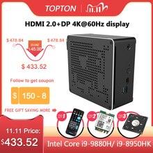 Topton 10th Gen Nuc i9 10980HK 10880H 6 Core i5 Mini PC 2 Lan Windows 10 2 * DDR4 2 * M.2 NVME AC Gaming Ordinateur De Bureau 4KDP HDMI