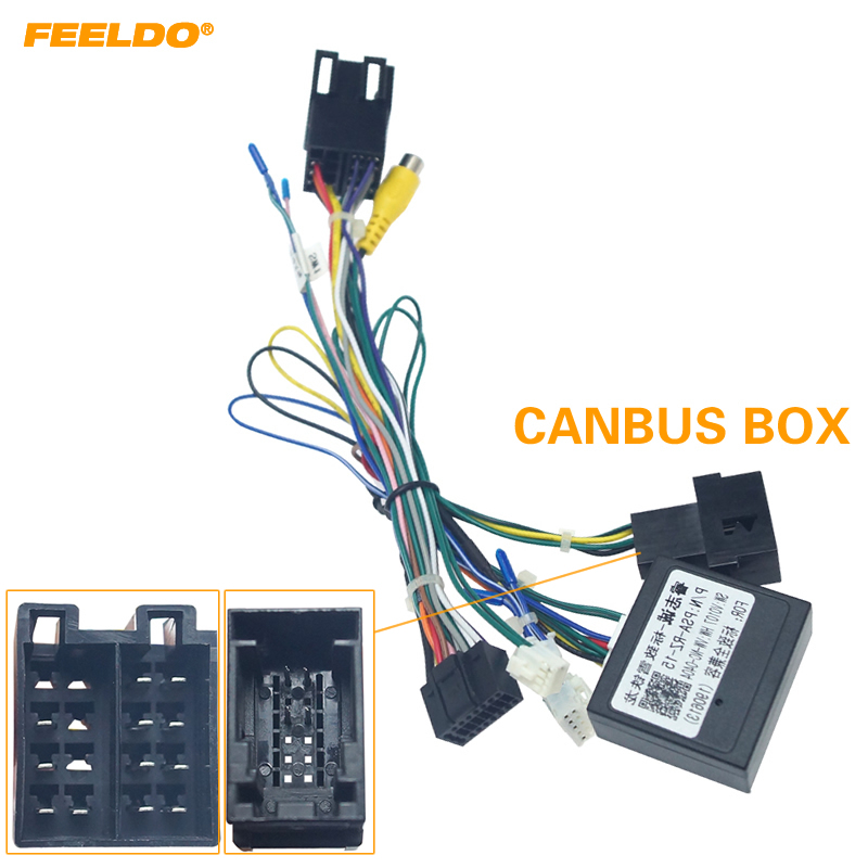 FEELDO 16pin Car Android Stereo Wiring Harness For Citroen C-QUATR/C-4 Low Trim Level (10~18) Low Trim With CANbus #HQ6225