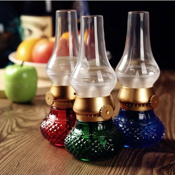 LED Rechargeable Flameless Candle Lantern Vintage Oil Table Lamp with Blow ON/OFF Control Dimmer Kerosene Night Light - discount item  30% OFF Night Lights