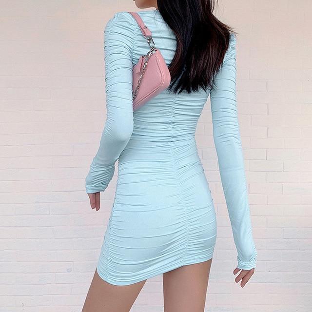Women StackedBodycon Street Mini Dress Chic V-Neck Office Lady Dress Female Fall Low-Cut Pleated Casual Clubwear 4
