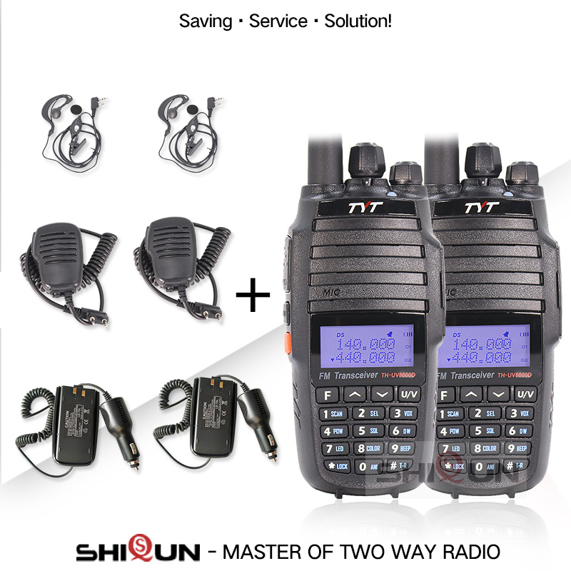 TYT VHF UHF Microphone-Speaker Walkie-Talkie 10w Radio Earpiece Battery Car-Charger Dual-Band