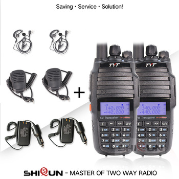2PCS TYT TH-UV8000D Walkie Talkie 10 KM Dual Band VHF UHF 10W Radio 10 km with Microphone Speaker Earpiece Car Charger Battery